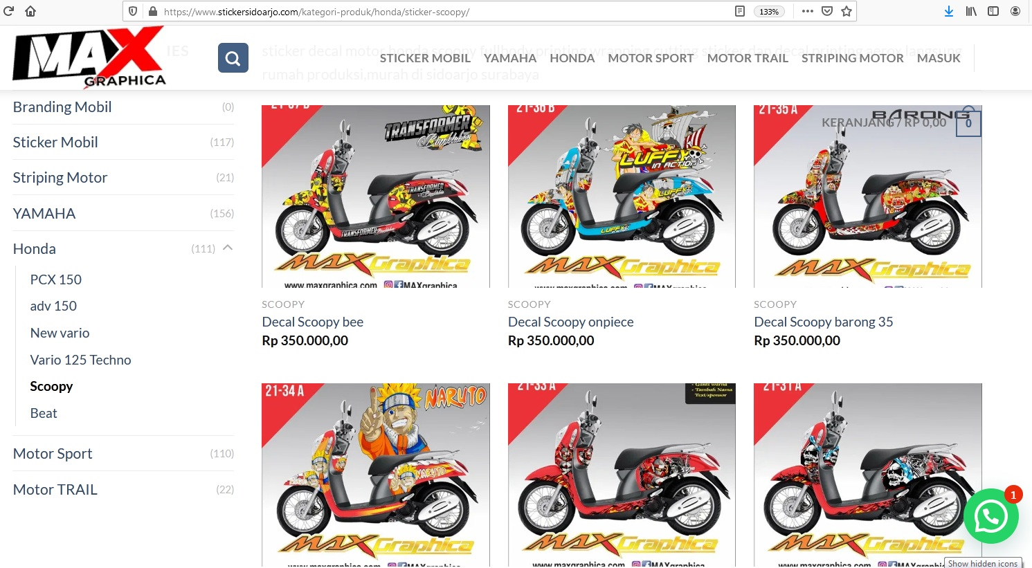 maxgraphica cutting sticker sidoarjo scoopy